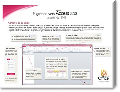 Miniature du Guide de migration Access 2010