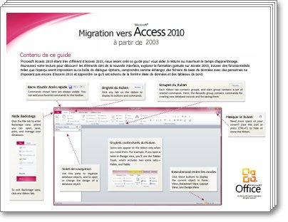 Miniature du Guide de migration Access2010