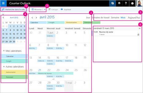 Utilisez le calendrier pour gérer vos réunions et d'autres événements.