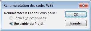 Image de la boîte de dialogue Renumérotation des codes WBS
