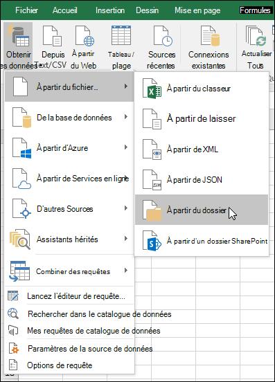 Combiner des fichiers binaires à partir du fichier > option à partir du dossier