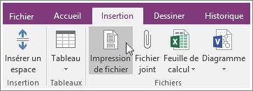 Capture d'écran du bouton Impression de fichier dans OneNote2016
