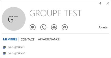 Capture d'écran de l'onglet Membres de la carte de visite Outlook pour le groupe nommé Groupe Test. Le Sous-groupe1 et le Sous-groupe2 sont affichés en tant que membres.