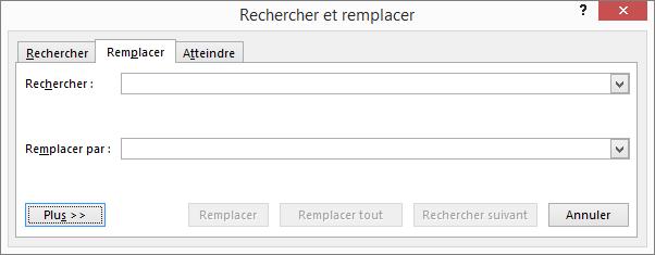 Dans la boîte de dialogue Rechercher et remplacer d'Outlook, sélectionnez le bouton Autres pour afficher des options supplémentaires.