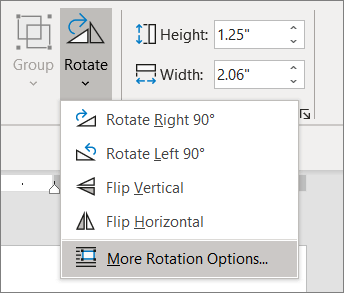 Menu Rotation avec sélection d'autres options de rotation