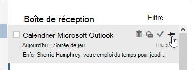 Capture d'écran de l'option de code confidentiel dans la liste des messages