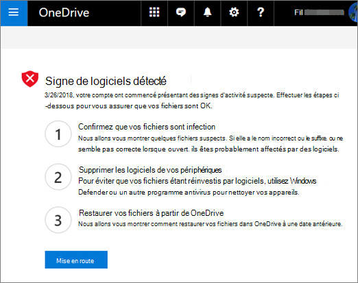 Screenshot of the Signs of ransomware detected screen on the OneDrive website