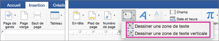 Cliquez sur zone de texte pour insérer une zone de texte avec du texte horizontal ou vertical.