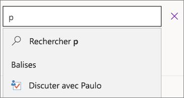 Zone de recherche avec p et résultats affichant une discussion avec Paulo