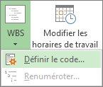 Image de l'option Définir le code du bouton WBS.
