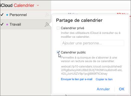 Paramètres du calendrier public dans iCloud