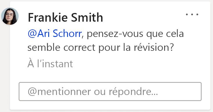 Image d'un commentaire montrant la zone de @mention ou de réponse. Cliquez dans ce champ texte pour commencer une nouvelle réponse au thread de commentaires associé.