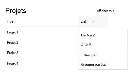 Composant WebPart liste avec menu Regrouper, filtrer et trier