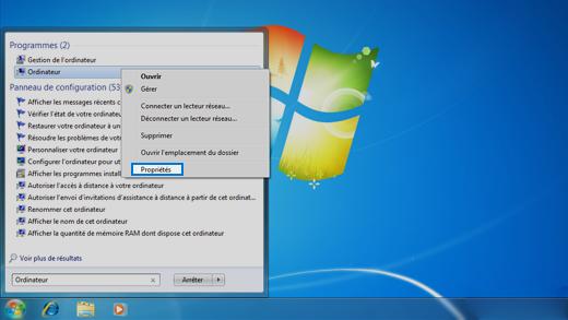 Panneau de configuration dans le système d'exploitation Windows7.