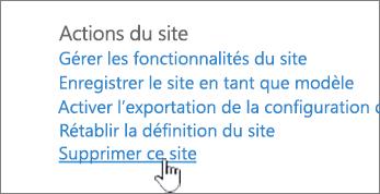 Menu paramètres du site avec l'options supprimer ce site en surbrillance