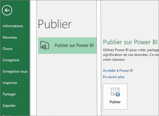 Onglet Publier dans Excel2016 affichant le bouton Publier sur Power BI