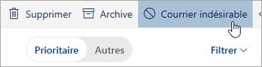 Capture d'écran du bouton Courrier indésirable.