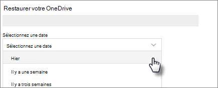 Capture d'écran de sélection d'une date sur restaurer votre écran OneDrive