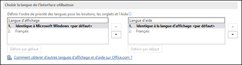La boîte de dialogue qui vous permet de sélectionner la langue qui sera utilisée par Office pour ses boutons, menus et aide.