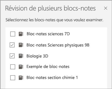 Sélection de blocs-notes de révision de plusieurs blocs-notes.