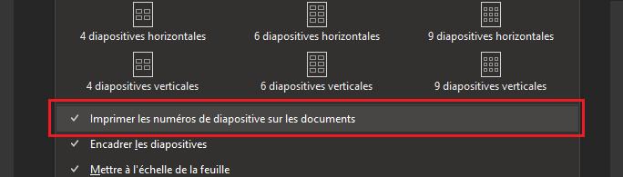 Boîte de dialogue Imprimer avec Imprimer les numéros des diapositives sur les documents en surbrillance