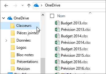Explorateur Windows, dossier OneDrive, fichiers Excel
