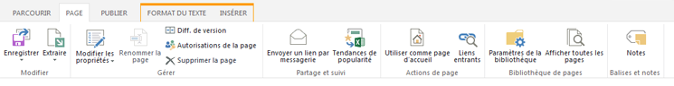 Capture d'écran de l'onglet Page qui contient de nombreux boutons pour la modification, l'enregistrement, l'extraction et l'archivage de pages de publication