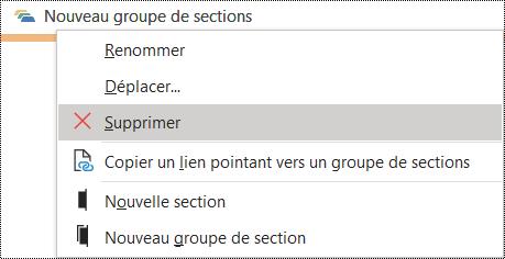 Supprimer un groupe de sections dans une boîte de dialogue OneNote pour Windows