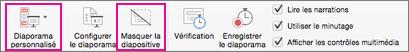 Sélectionner Masquer la diapositive ou Diaporama personnalisé pour enregistrer un sous-ensemble de diapositives