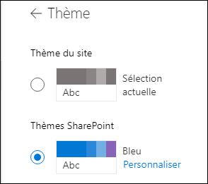Sélectionnez un nouveau thème pour votre site SharePoint