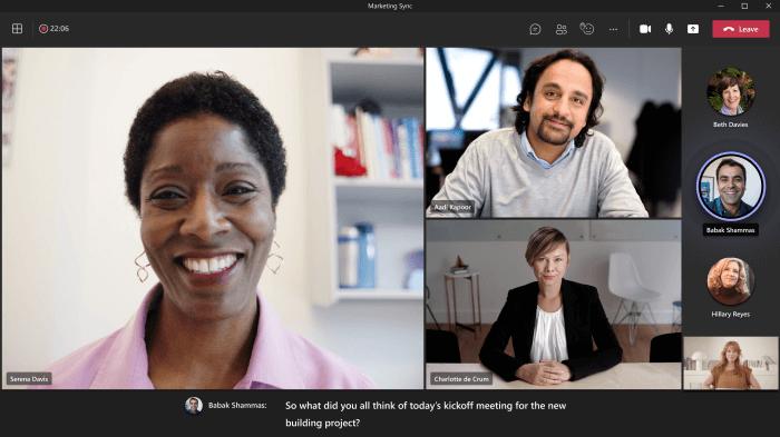 Teams-meetings-live captions screen