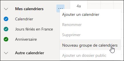Une capture d'écran du Nouveau bouton groupe du calendrier