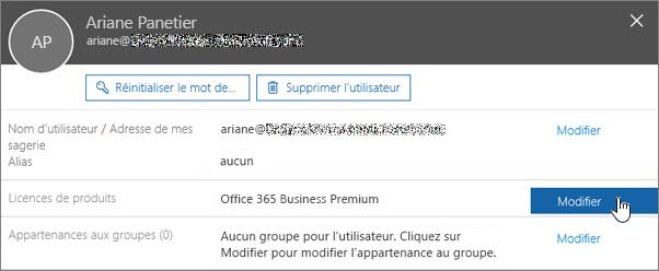 Capture d'écran illustrant la modification de licences de produits
