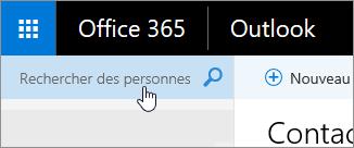 Capture d'écran de la zone Rechercher des personnes dans la page Contacts.