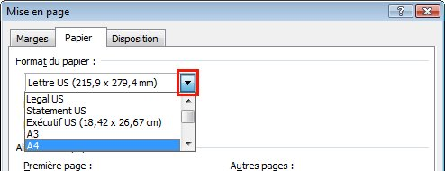 Under Paper size, click the arrow to the right and select the paper size.