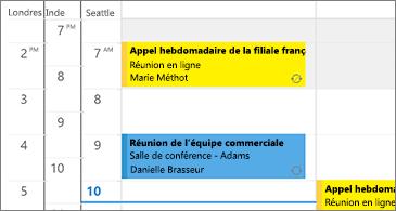 Calendrier affichant 3 fuseaux horaires à gauche et des réunions à droite