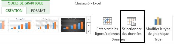 L'option Sélectionner les données se trouve sous l'onglet Création.