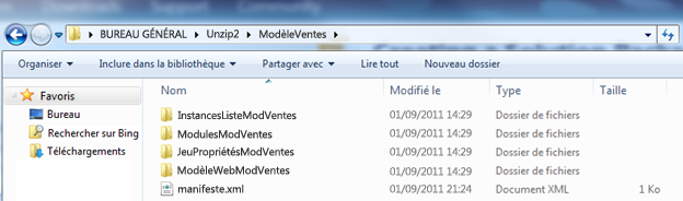 Capture d'écran montrant un fichier Web Solution Package (.wsp) décompressé dans l'Explorateur Windows