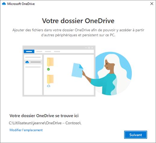 Capture d'écran de la page Voici votre dossier OneDrive de l'Assistant Bienvenue dans OneDrive
