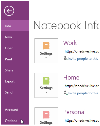 Options OneNote