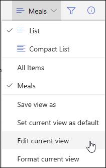 Option du menu Modifier l'affichage actuel de SharePoint Online