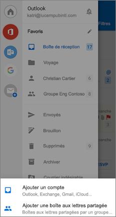 Page paramètres avec l'option Ajouter une boîte aux lettres partagée en bas