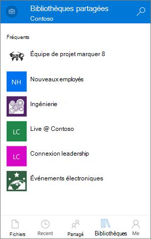 Accès aux bibliothèques par le biais de l'application mobile OneDrive entreprise