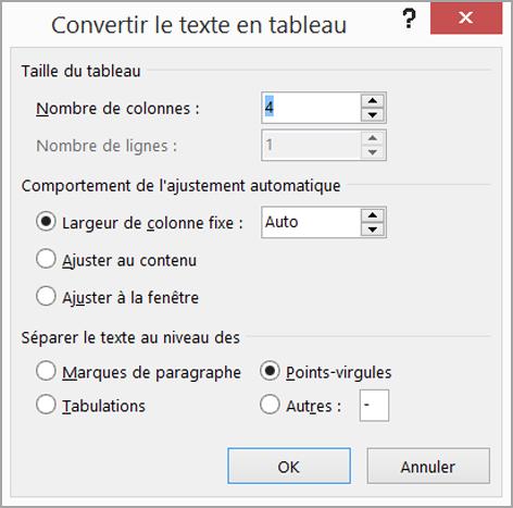 Convertir le texte en tableau