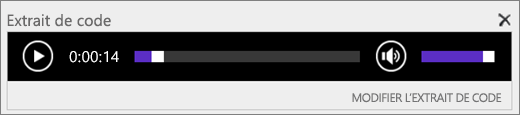 SharePointOnline avec la barre de contrôle audio Extrait de code affichant la durée totale d'un fichier audio et contenant le contrôle permettant de démarrer et d'arrêter la lecture du fichier.