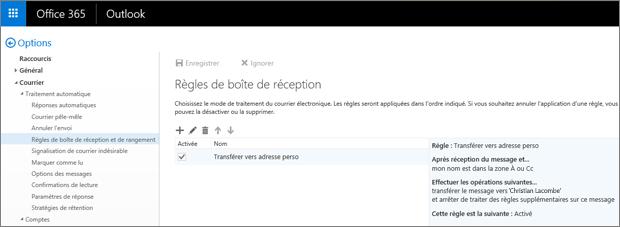 Affiche la zone Règles de la boîte de réception et l'option de règles de nettoyage des options des messages dans Office365. Vous pouvez créer, modifier et supprimer des règles de boîte de réception pour gérer votre courrier électronique.