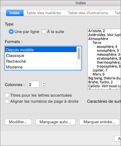 Options pouvant être définies dans la boîte de dialogue Index