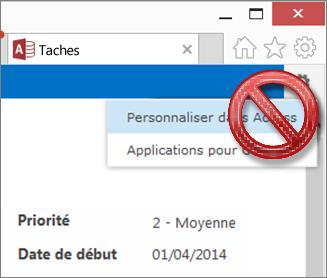 L'option Personnaliser dans Access du menu Paramètres est barrée