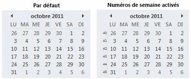 Le navigateur de dates de la barre des tâches avec et sans les numéros de semaine