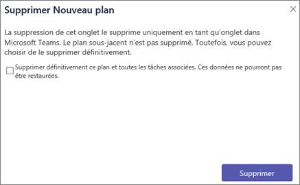Capture d'écran de la boîte de dialogue Supprimer dans Microsoft Teams